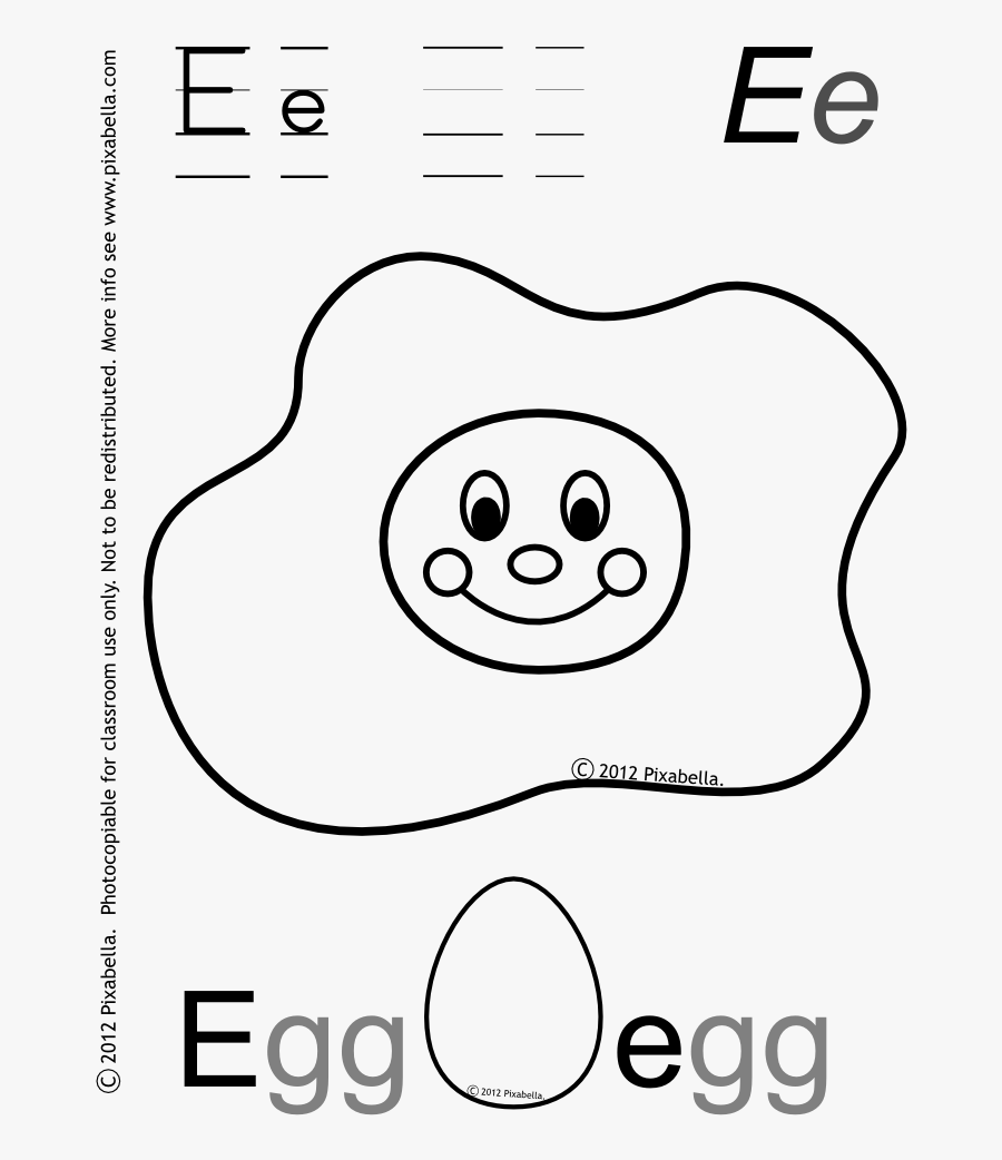 Letter E For Egg Coloring Page - Letter E Egg Preschool, Transparent Clipart