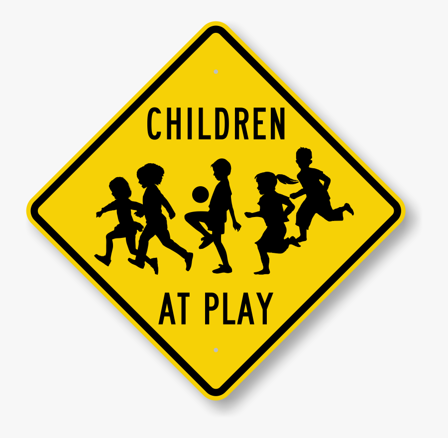 Children At Play Signs - Transparent Child Silhouette, Transparent Clipart