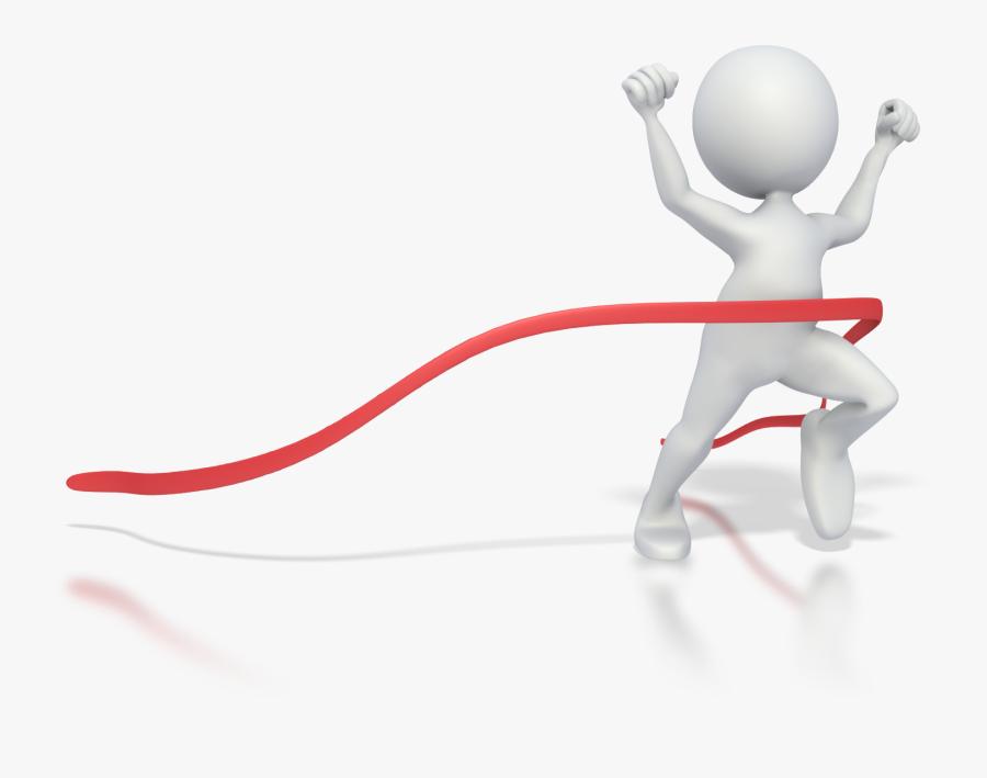 Transparent Running Stick Figure Png - Finish Line Ribbon Png, Transparent Clipart