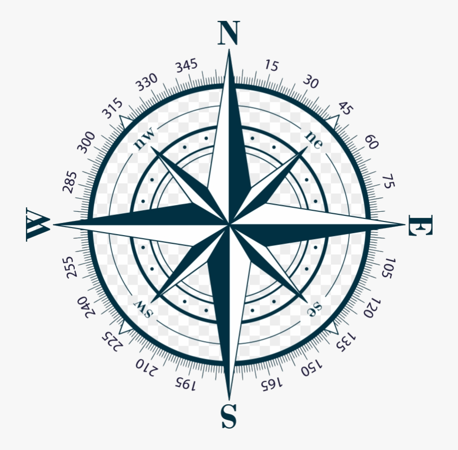 Compass Clipart Transparent Background Rose For Map - Compass Rose, Transparent Clipart