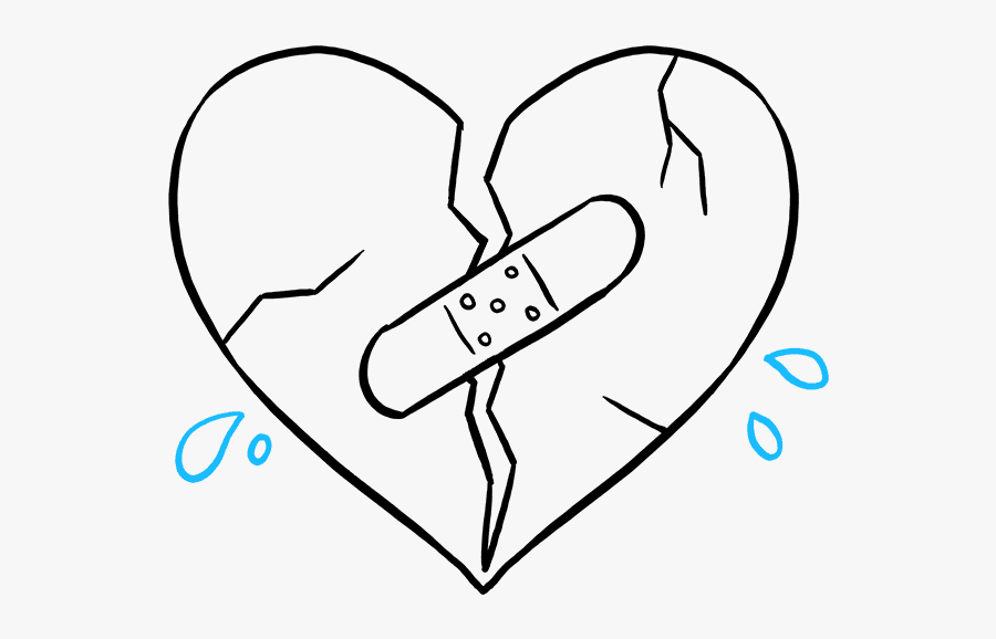 How To Draw A Broken Heart - Easy Broken Heart Drawings, Transparent Clipart