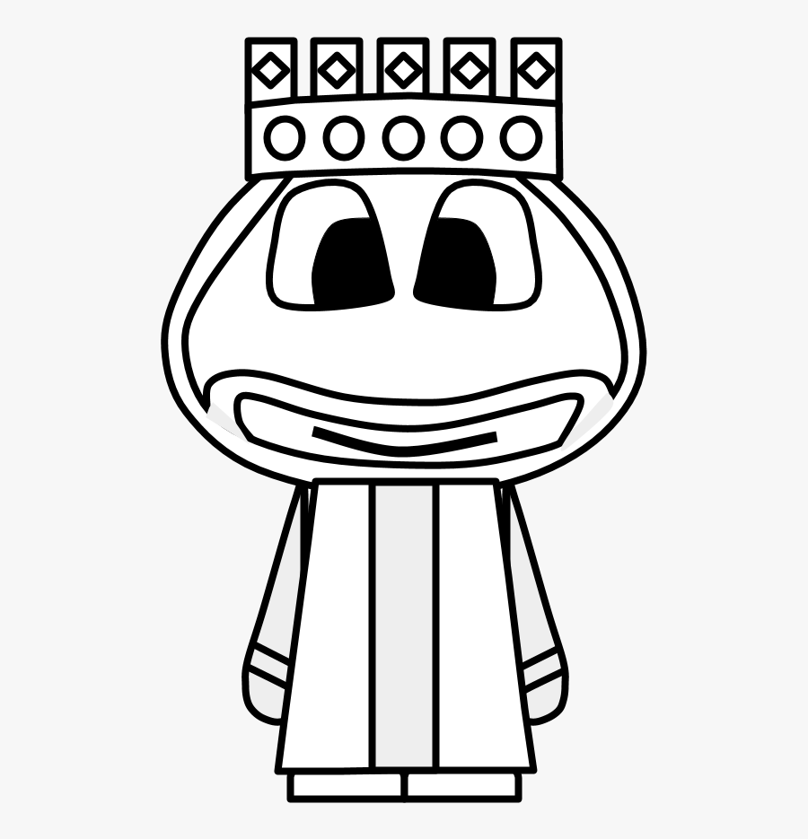 King, Crown, Big Eyes, Cartoon Person, Black And White, - Drawing, Transparent Clipart