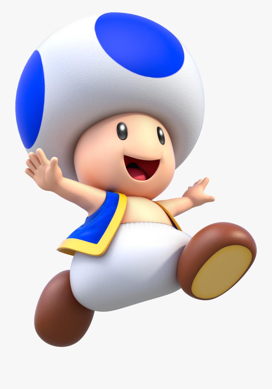 Transparent Toads Clipart - Super Mario Toad Blue, Transparent Clipart
