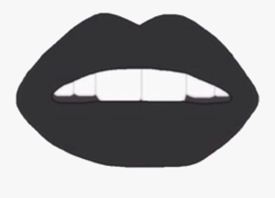 #lips #mouth #teeth #black #blacklips #dark #grunge - Lipstick Aesthetic Black And White, Transparent Clipart