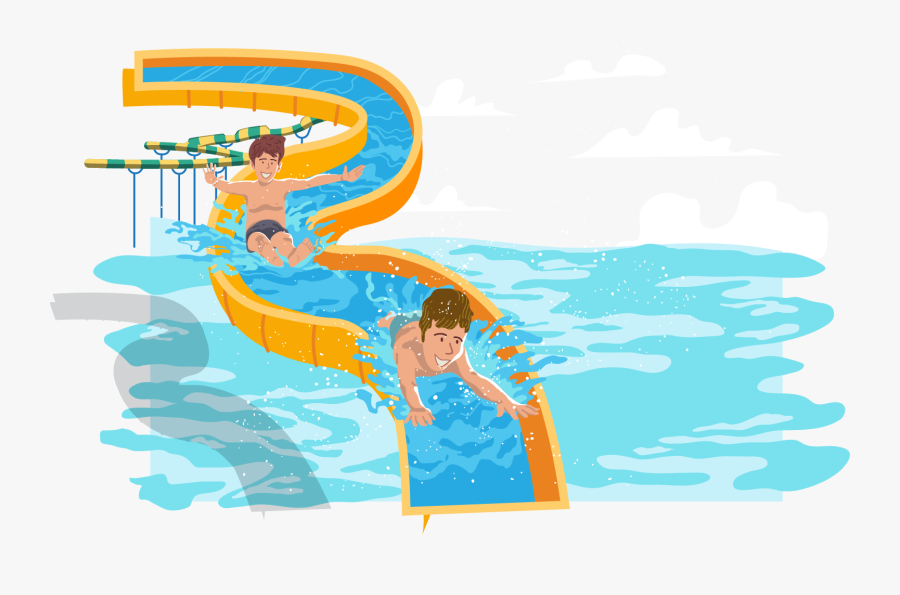 Water Park Water Slide Swimming Pool - Water Slide Clipart Transparent Background, Transparent Clipart
