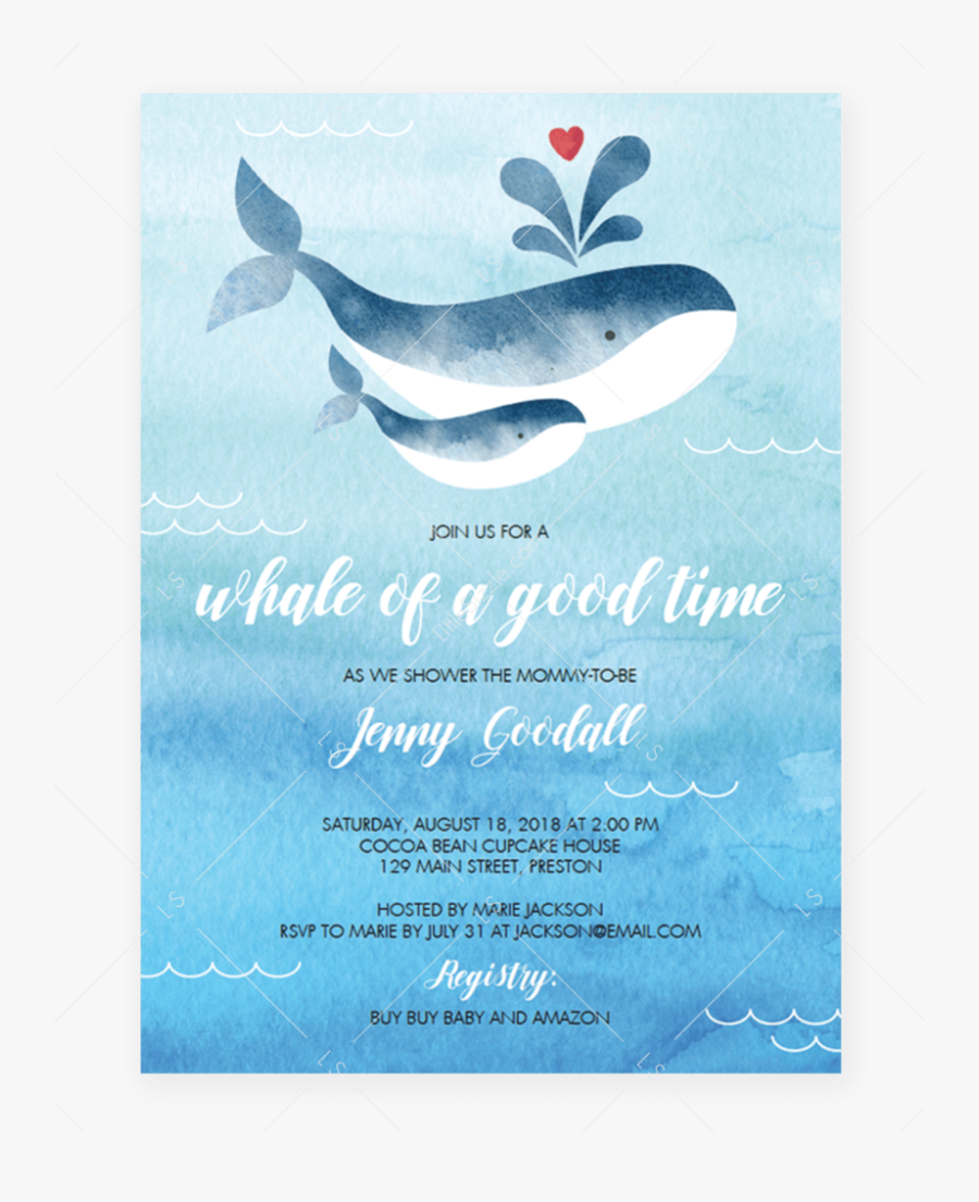 Transparent Whale Baby Shower - Boy Baby Shower Invitation Template, Transparent Clipart