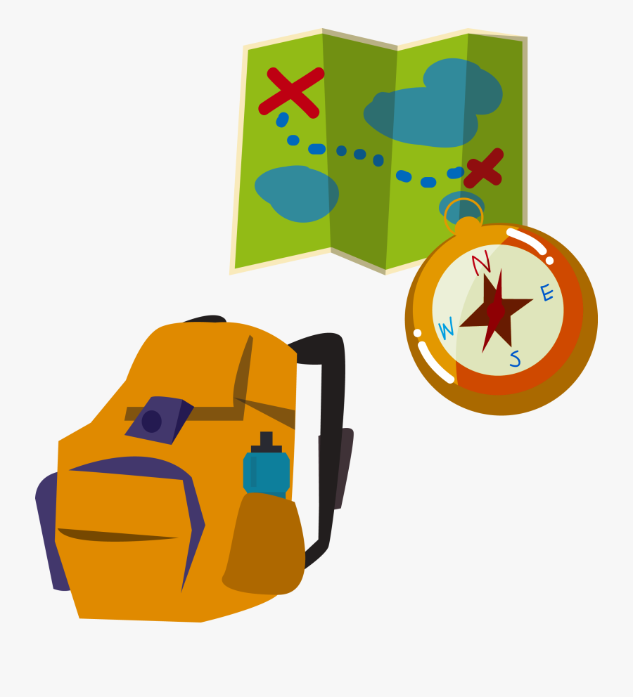 Backpacking Illustration Map Compass - Camping Map And Compass Clipart, Transparent Clipart