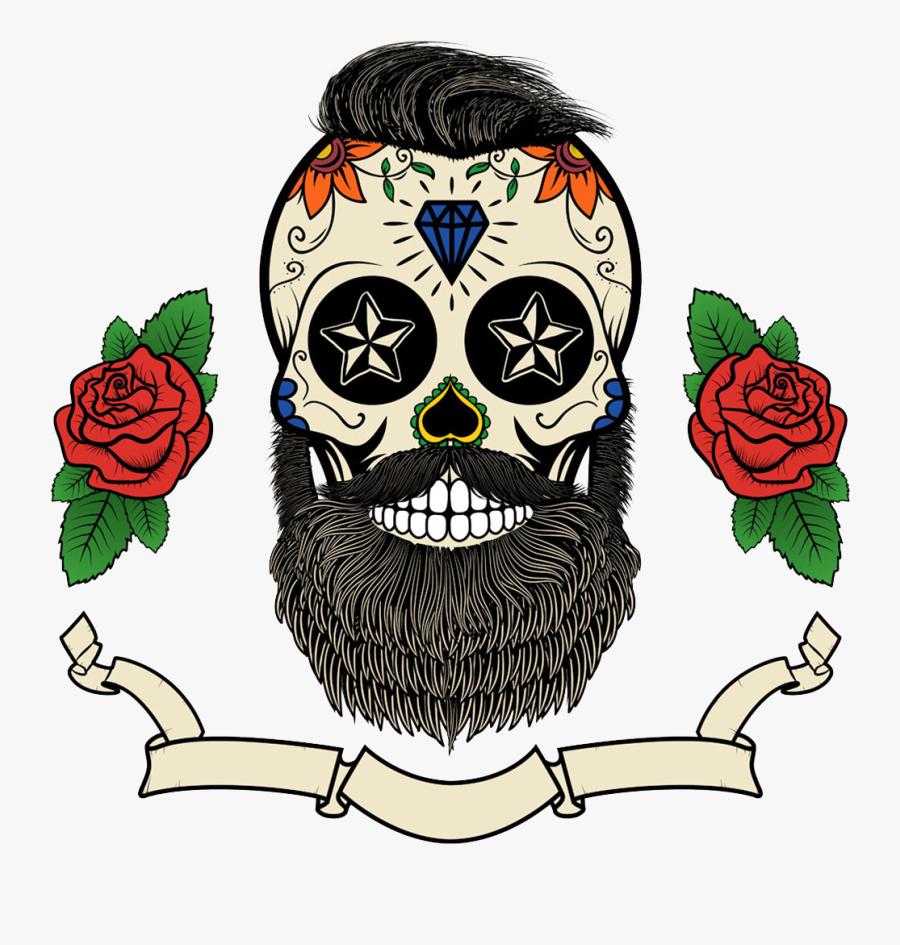 Clip Art Calavera Beard Skull Tattoo - Mexican Skull With Beard, Transparent Clipart