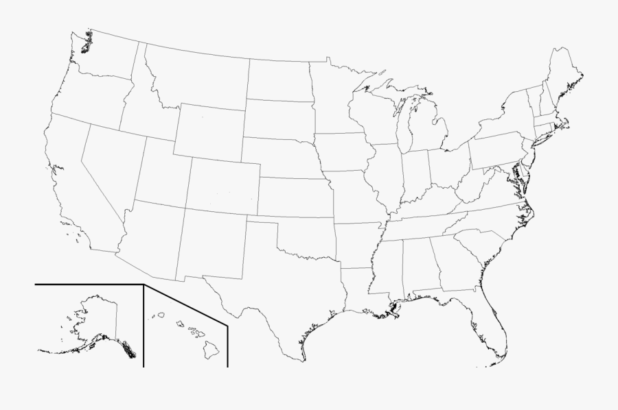 Transparent United States Clipart Black And White - High Resolution United States Map Blank, Transparent Clipart