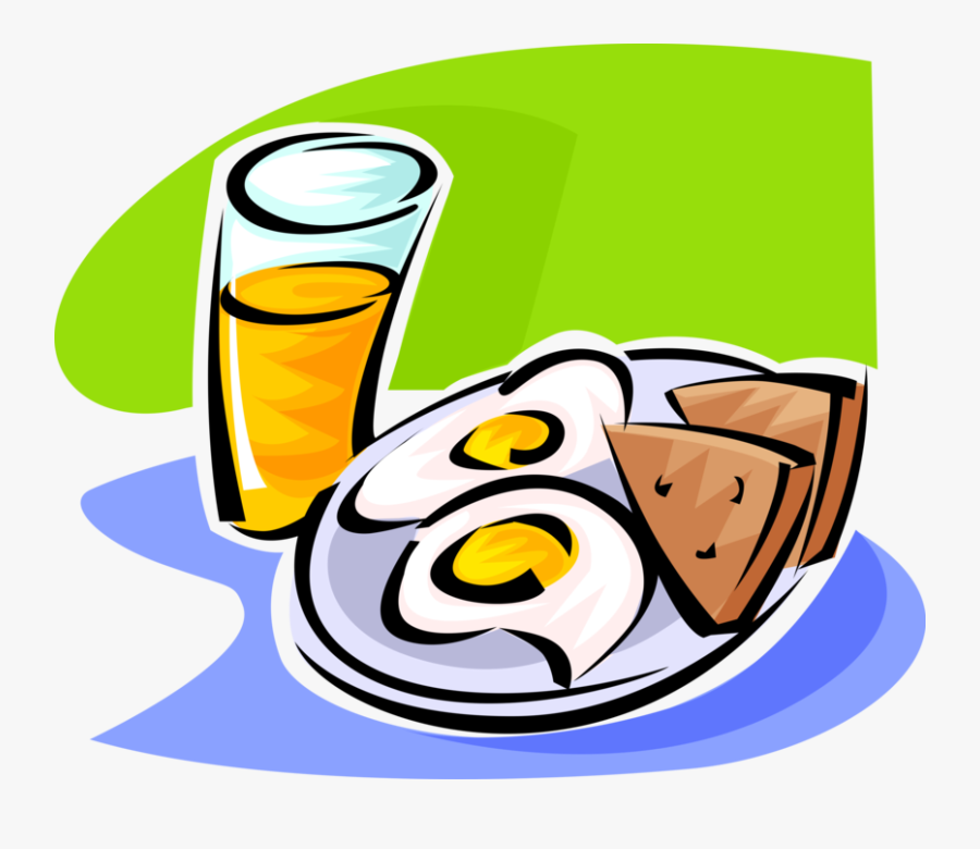 Vector Illustration Of Breakfast Fried Eggs, Toast - Clip Art Egg And Toast, Transparent Clipart