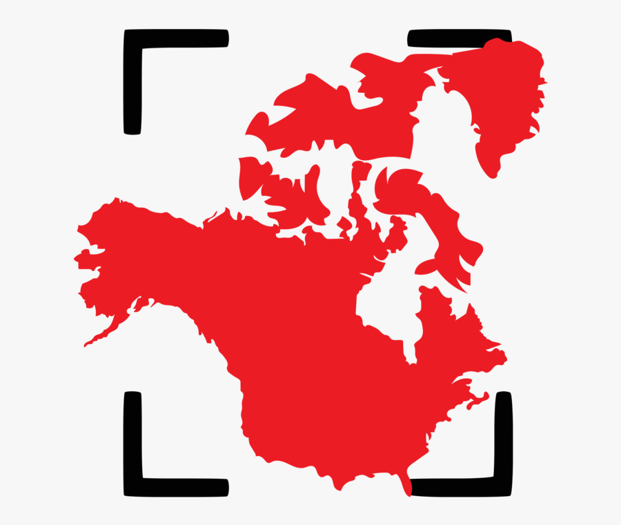 The North America Region Consists Of The United States - North And South America Map Silhouette, Transparent Clipart