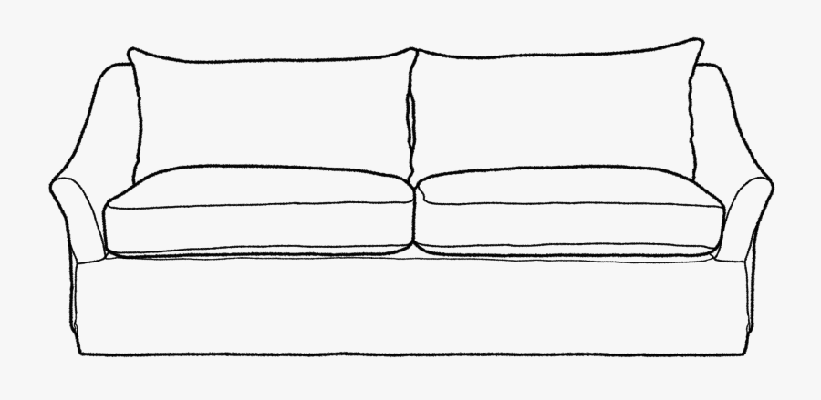 Couch Clipart Outline - Sofa Black And White Png, Transparent Clipart