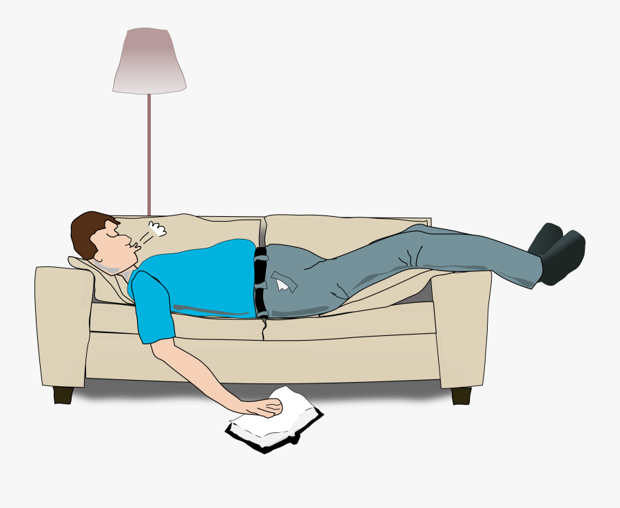 Transparent Sleeping Clipart - Sleeping On Small Couch, Transparent Clipart