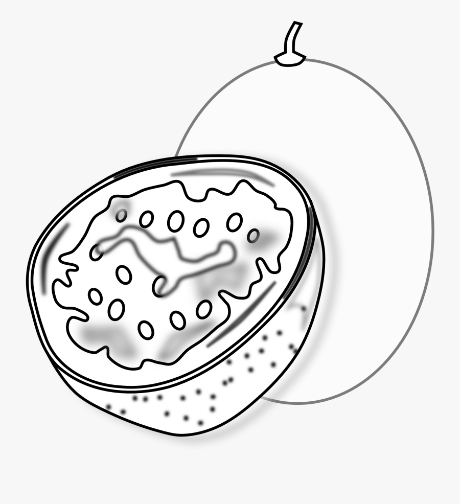 Food Passion Fruit Passion Fruit Black White Line Art - Passion Fruit For Coloring, Transparent Clipart