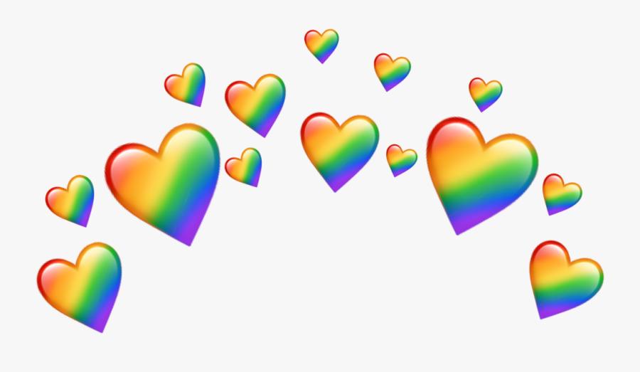 Emoji Heart Crown Png , Transparent Cartoons - Rainbow Heart Emoji Crown, Transparent Clipart