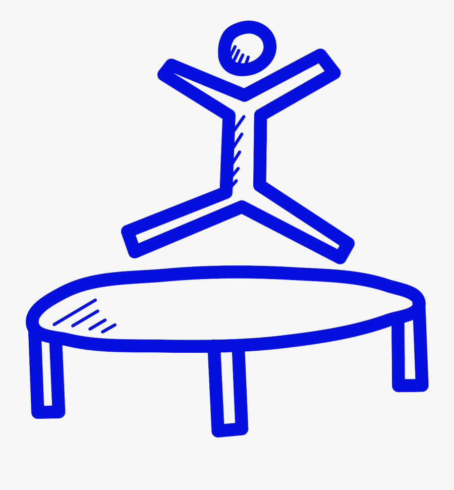 Line Drawing Of A Person Jumping On A Trampoline - Person Jumping On A Trampoline Drawing, Transparent Clipart