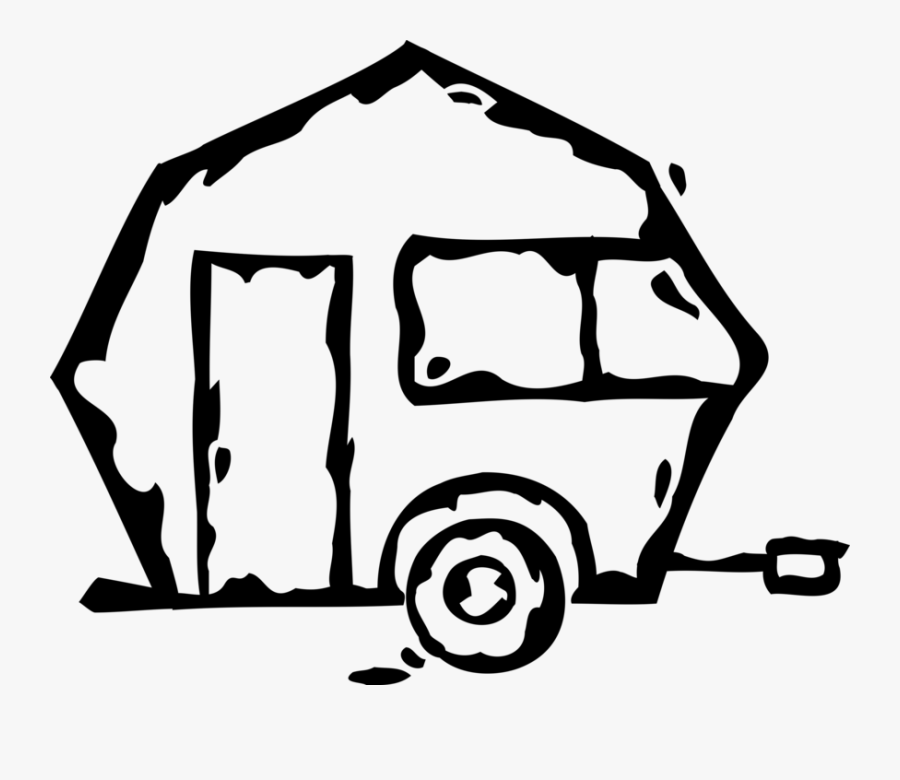 Vector Illustration Of Recreational Vehicle Camping - Jeep Travel Trailer Vector, Transparent Clipart