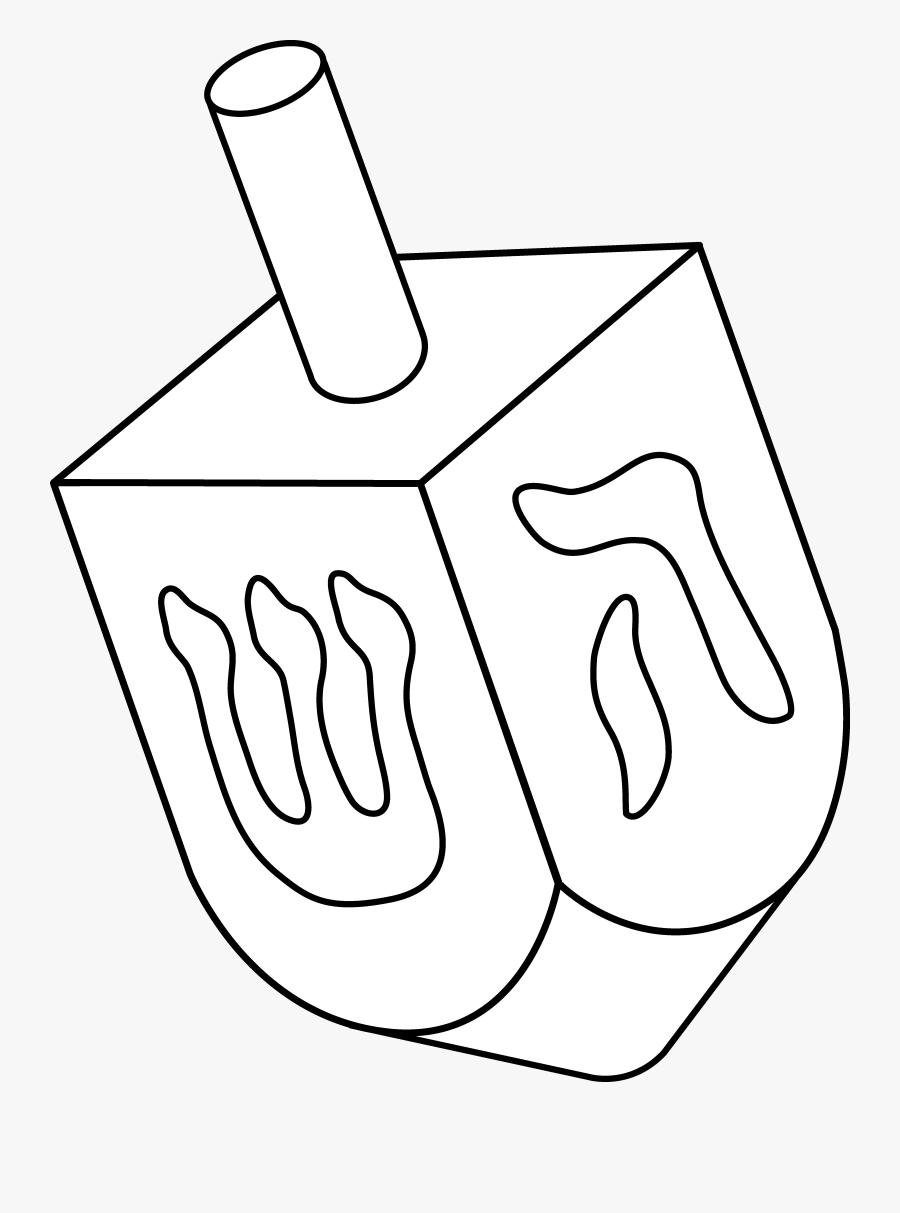 Dreidel Colorable Line Art - Judaism Symbols Dreidel, Transparent Clipart