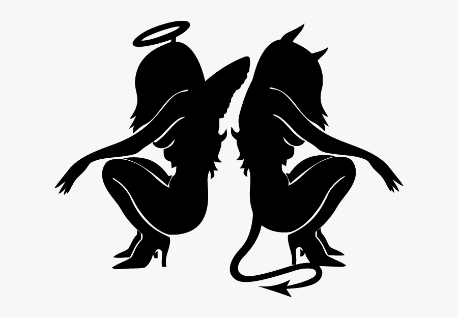 Tattoo Devil Gemini Angel Demon - Angel And Devil Girl, Transparent Clipart