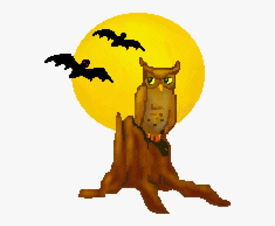 Tree Stump Bats And Moons Free Owls Clip Art Halloween - Clip Art Pumpkin Patch Scarecrow, Transparent Clipart