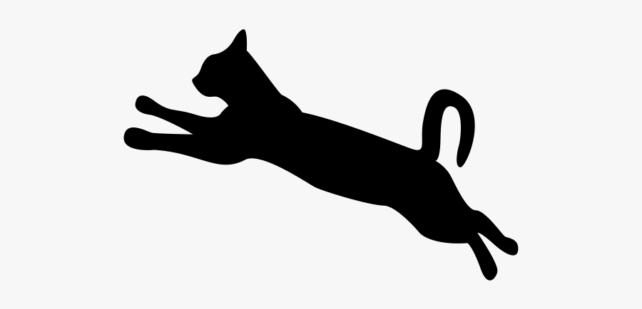 Cat Dog Silhouette Clip Art - Cat Jumping Clipart Black And White, Transparent Clipart