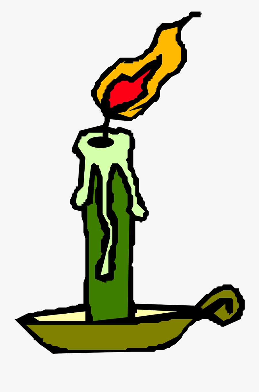 Candle, Burning, Flame, Green, Windy, Scary, Cosy - Candle Clip Art, Transparent Clipart