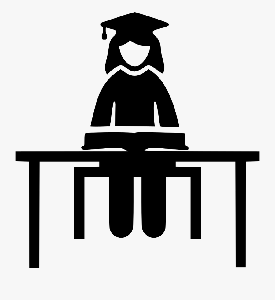 Female Student Svg Icon - Student Studying Icon Png, Transparent Clipart