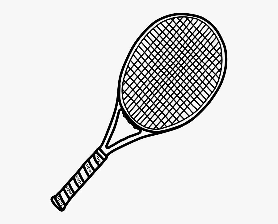Tennis Racket, Black And White - Tennis Racket, Transparent Clipart