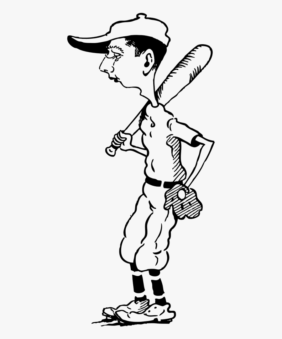 Baseball Player Caricature - Drawing Of Cartoon Baseball Player, Transparent Clipart