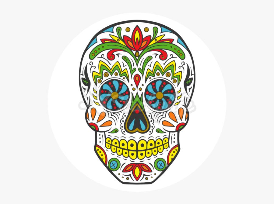 Sugar Skull Temporary Tattoo - Dias De Los Muertos Skulls, Transparent Clipart