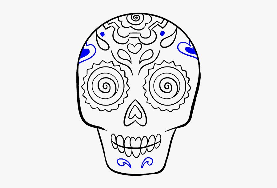How To Draw Sugar Skull - Easy Dia De Los Muertos Skull Drawing, Transparent Clipart