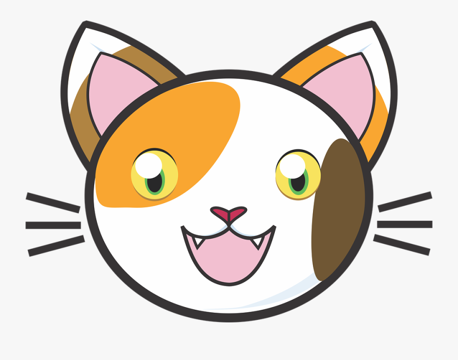 Adorable Clipart Cute Cat - Cute Cartoon Cat Face, Transparent Clipart