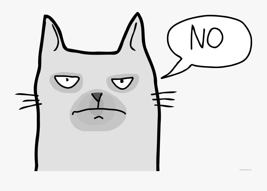 Grumpy Cat Face Clipart - Angry Cat Clip Art, Transparent Clipart