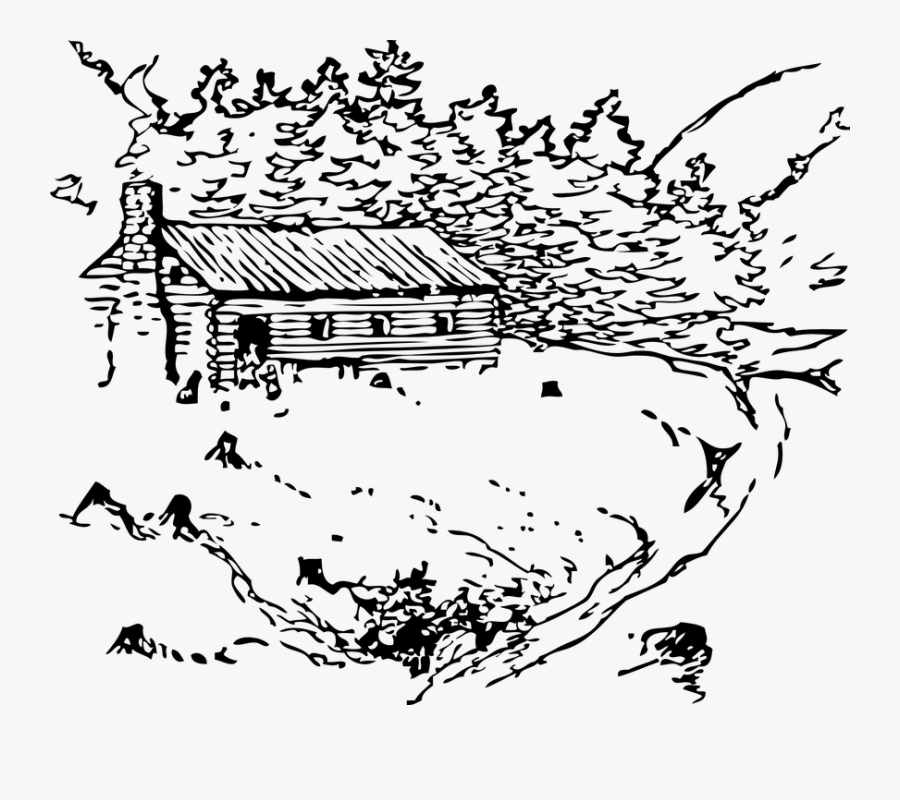 Log Cabin, House, Rustic, Wilderness, Rural, Home - Black And White Nature Clip Art, Transparent Clipart
