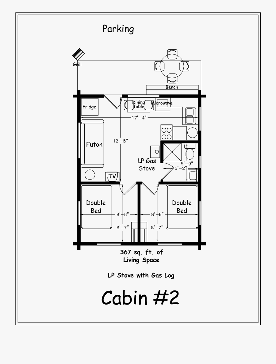 Simple Log Cabin Drawing At Getdrawings - 2 Bedroom Cabin Layout, Transparent Clipart