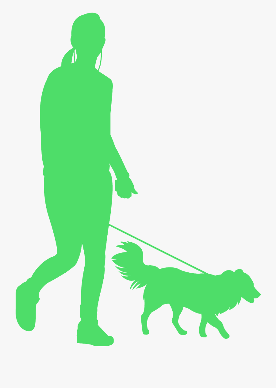 Person With Dog Silhouette, Transparent Clipart