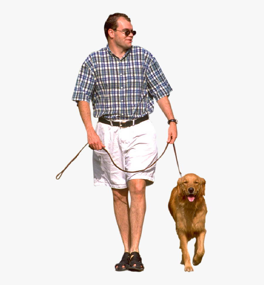 Man Vector Clipart Psd - Person Walking Dog Png, Transparent Clipart