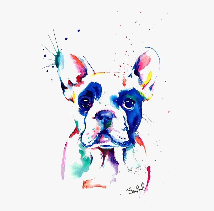 Bulldog Watercolor Painting Drawing French Free Hq - Diamond Painting French Bulldog, Transparent Clipart