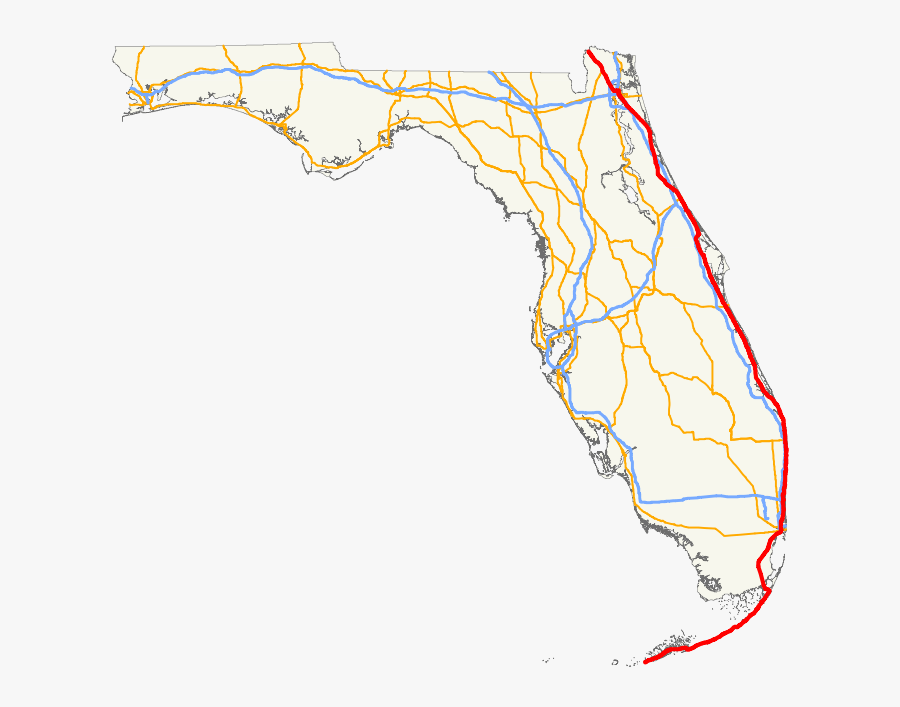 Of Us Route East - Florida State Road 60 Map, Transparent Clipart