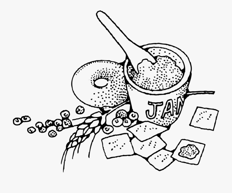 Jam, Sweet, Food, Kids, Breakfast, Delicious - Food And Drink Lineart, Transparent Clipart