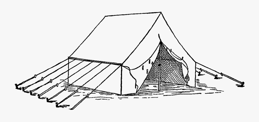Clipart Tent Army Tent - Vintage Camp Tent Illustration, Transparent Clipart
