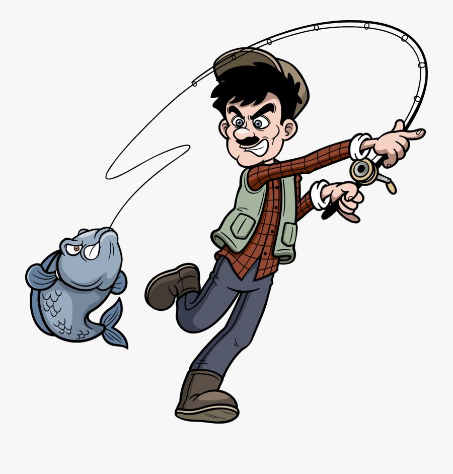 Cartoon Fisherman, Transparent Clipart