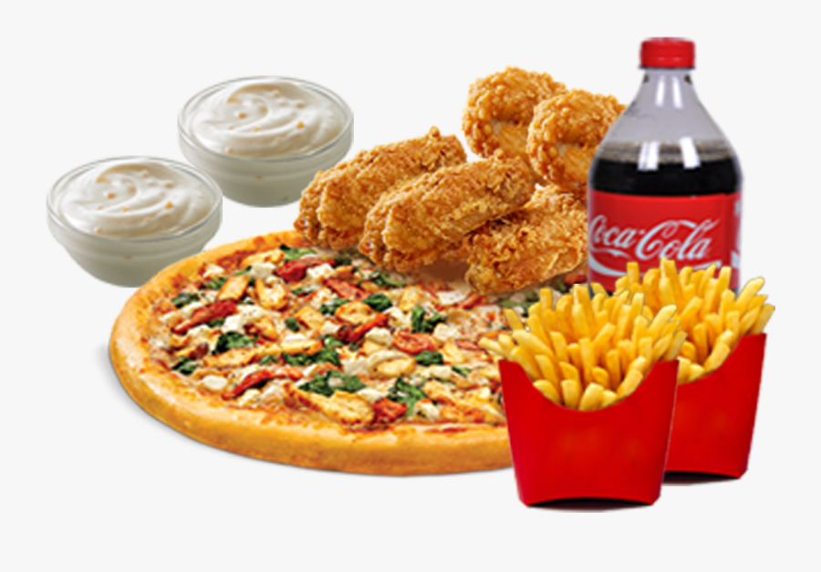 Pizza Clipart Chicken Wing - Chicken Pizza And French Fries, Transparent Clipart