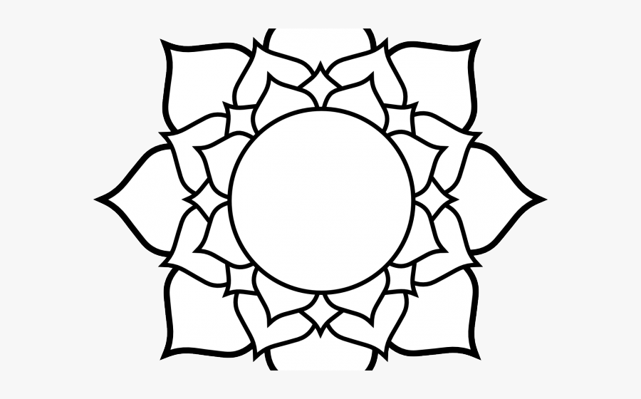 Transparent Flower Pattern Clipart - Lotus Flower From Above Drawing, Transparent Clipart