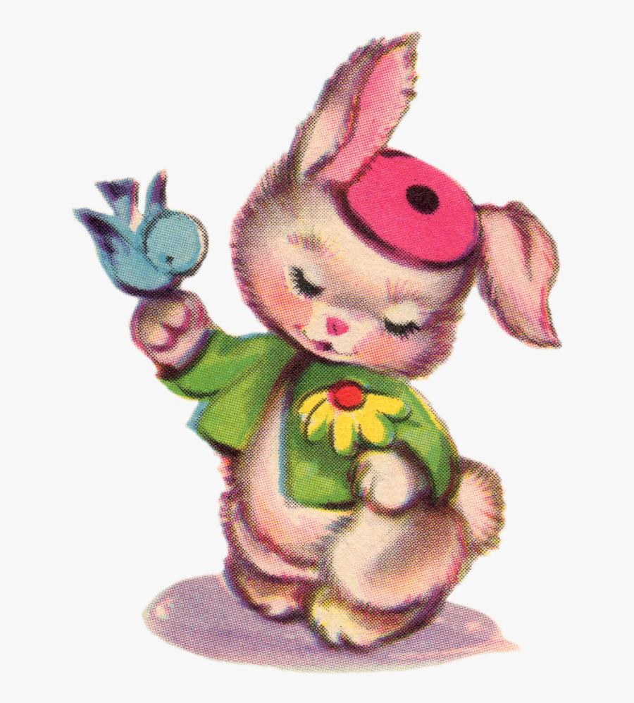 Cute Vintage Easter Bunny, Transparent Clipart