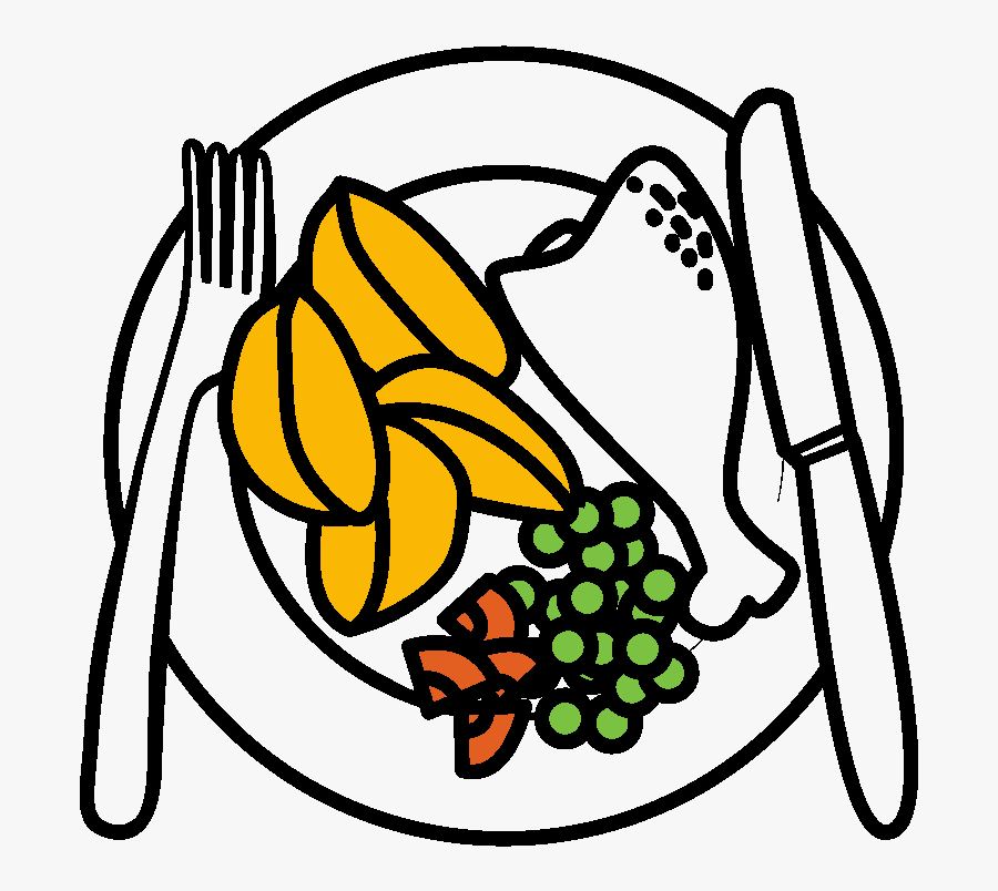 Drawing At Getdrawings Com - Drawing Of A Plate Of Food, Transparent Clipart