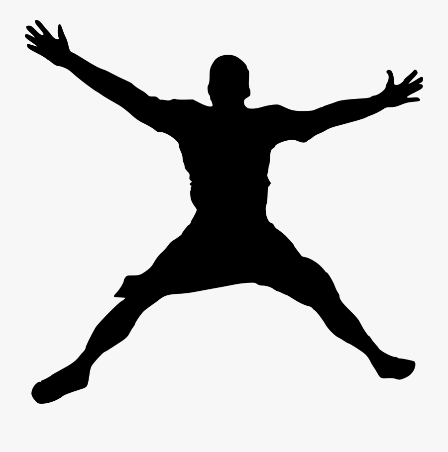 Jump Clipart Happy Man - Jumping Silhouette Png, Transparent Clipart