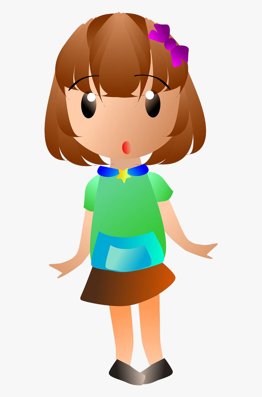 Girl Cute Embarrassed Free Picture - Kız Çocuk Resmi Çizim, Transparent Clipart