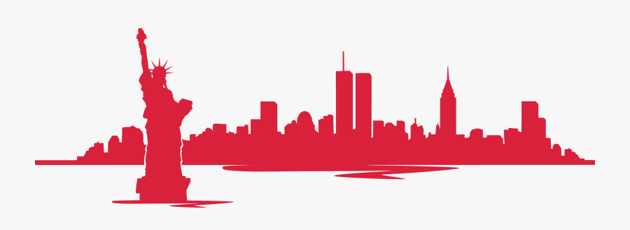 New York Skyline With Twin Towers Silhouette - New York City Skyline Silhouette Twin Towers, Transparent Clipart