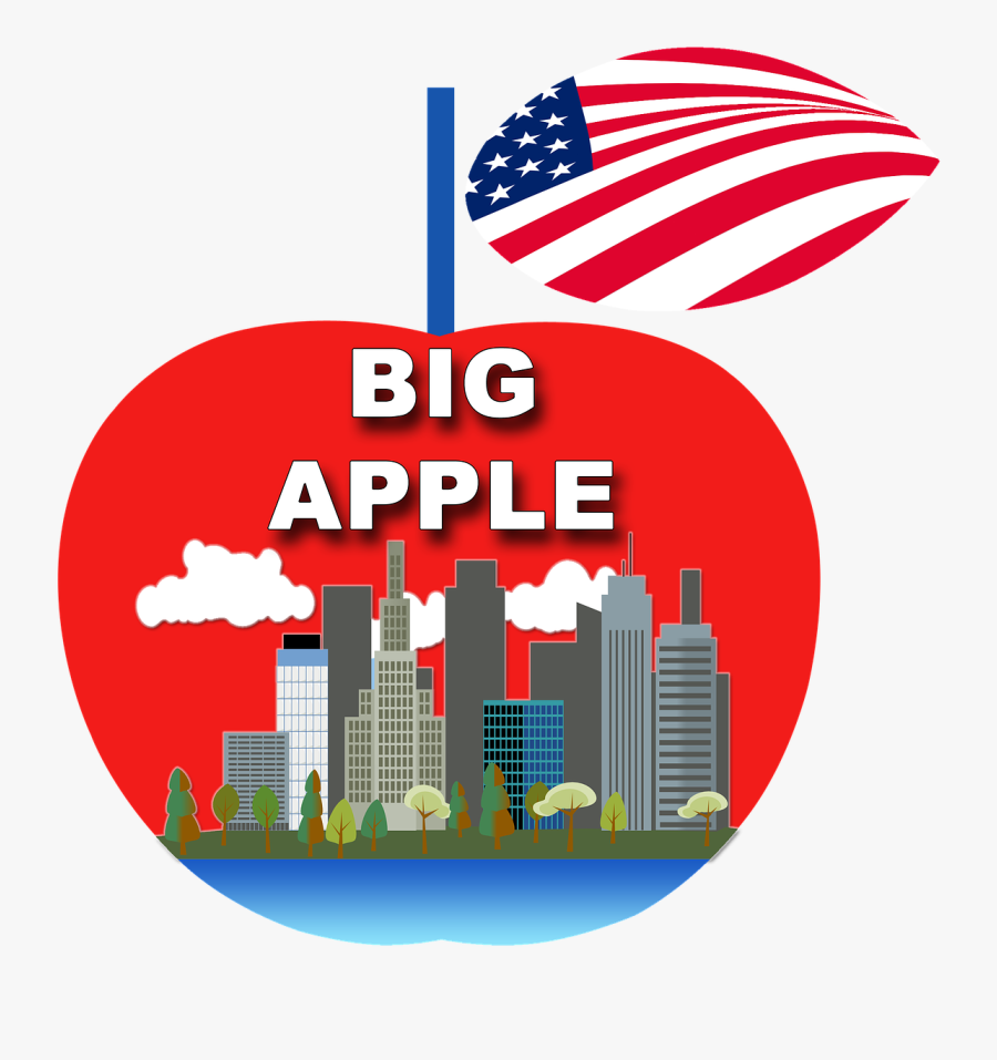 Apple New York Ny Manhattan Free Picture - City Skyline Clip Art, Transparent Clipart